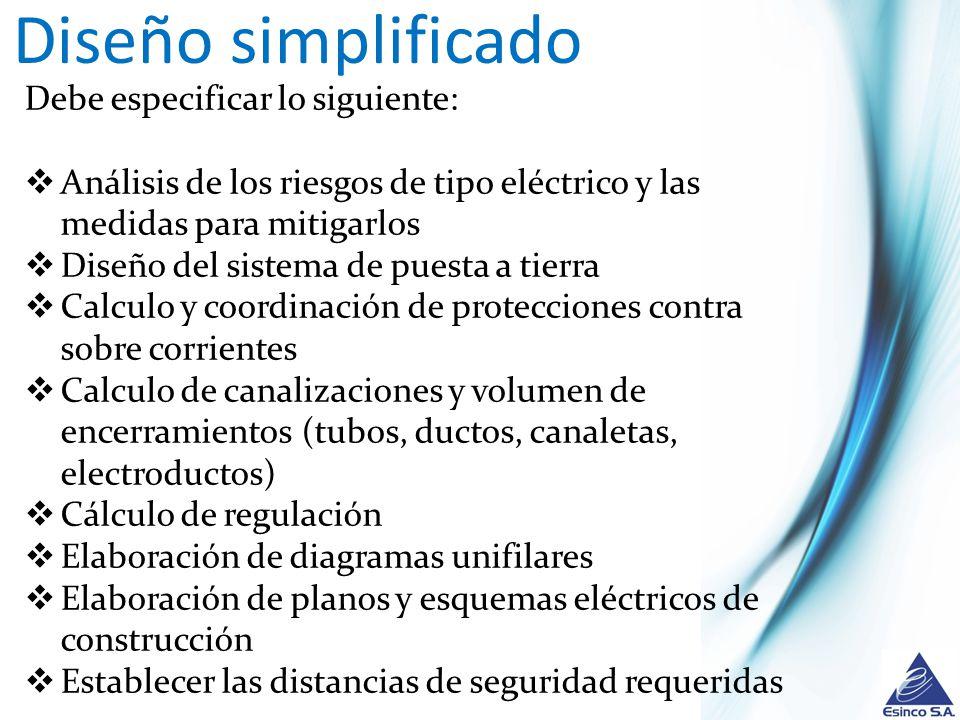 Diseño simplificado Debe especificar lo siguiente: