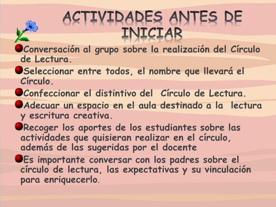 ACTIVIDADES ANTES DE INICIAR