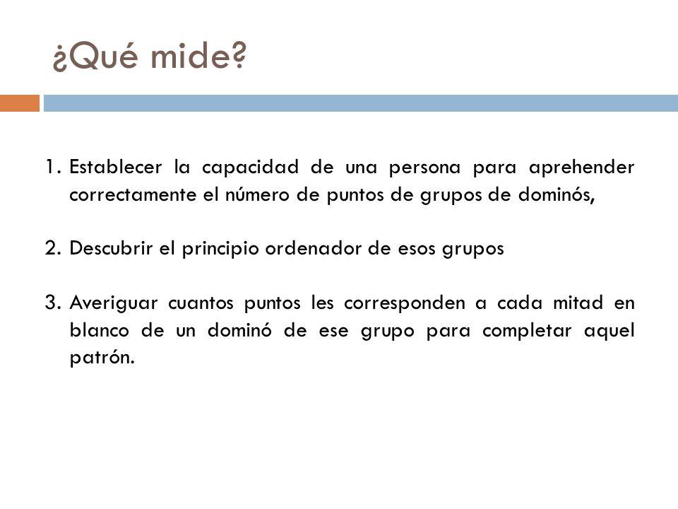 ¿Qué mide Establecer la capacidad de una persona para aprehender correctamente el número de puntos de grupos de dominós,