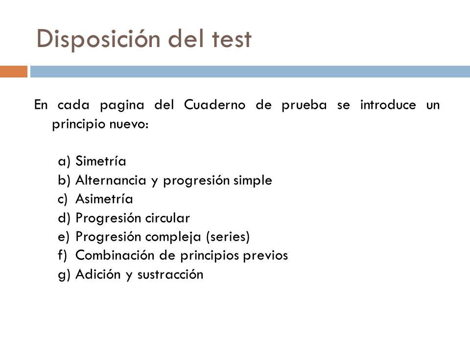 Disposición del test En cada pagina del Cuaderno de prueba se introduce un principio nuevo: Simetría.