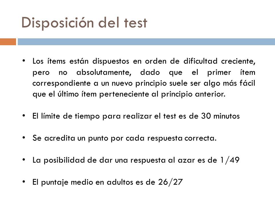 Disposición del test