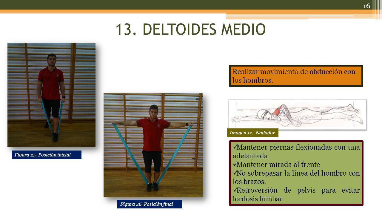 13. DELTOIDES MEDIO Realizar movimiento de abducción con los hombros.