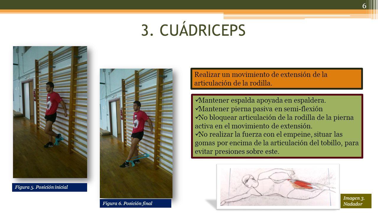 3. CUÁDRICEPS Realizar un movimiento de extensión de la articulación de la rodilla. Mantener espalda apoyada en espaldera.