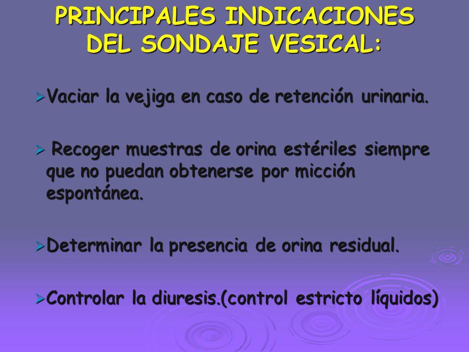 PRINCIPALES INDICACIONES DEL SONDAJE VESICAL: