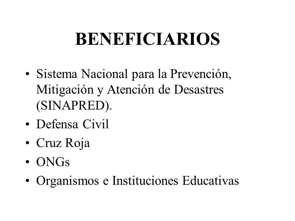 BENEFICIARIOS Sistema Nacional para la Prevención, Mitigación y Atención de Desastres (SINAPRED). Defensa Civil.