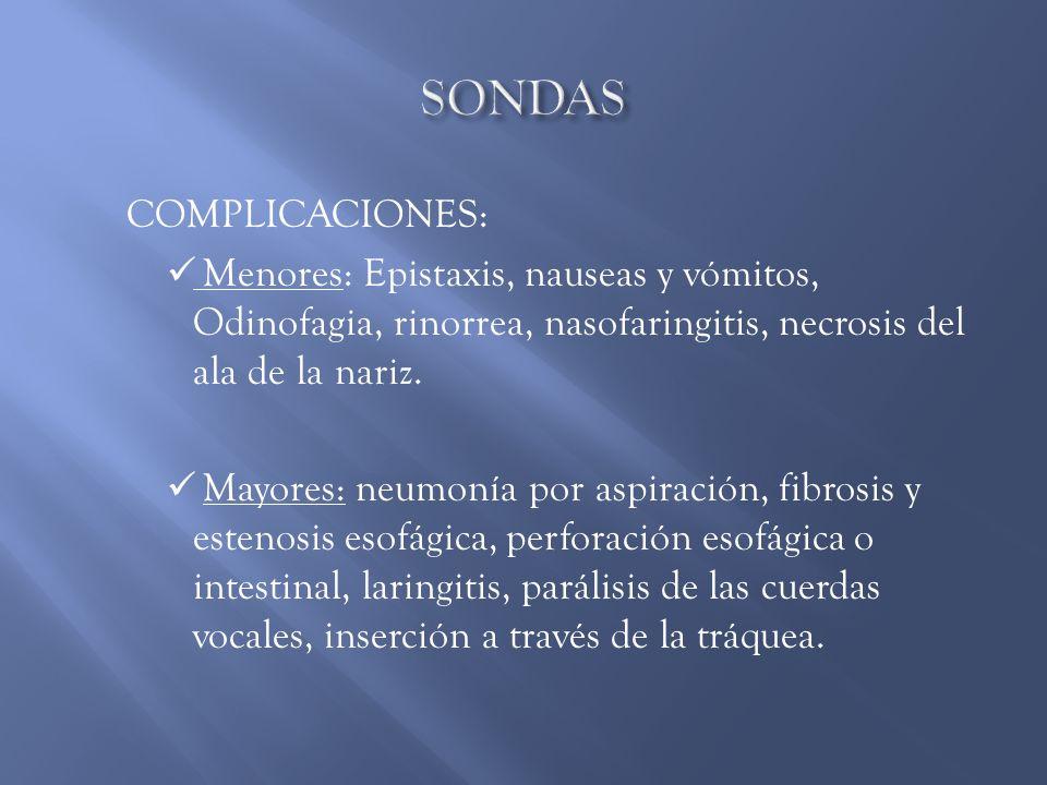 SONDAS Complicaciones: Menores: Epistaxis, nauseas y vómitos, Odinofagia, rinorrea, nasofaringitis, necrosis del ala de la nariz.