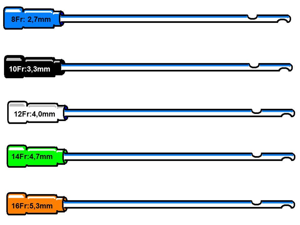 CARACTERISTICAS 8Fr: 2,7mm 10Fr:3,3mm MATERIAL DE FABRICACION: