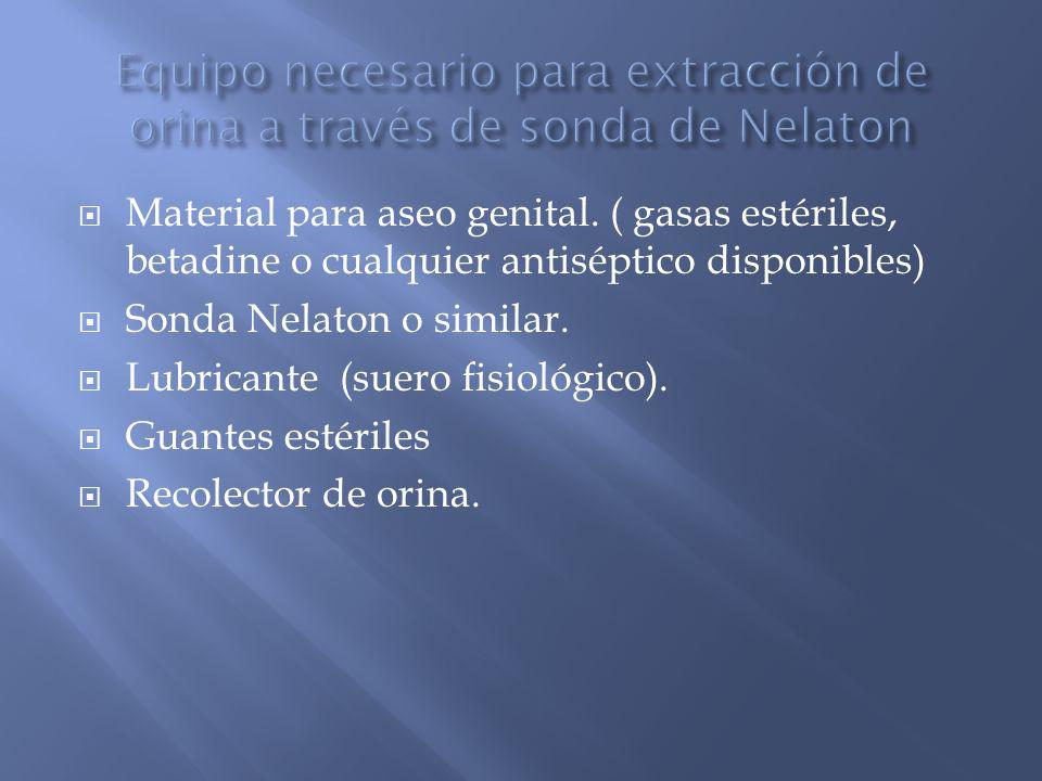 Equipo necesario para extracción de orina a través de sonda de Nelaton