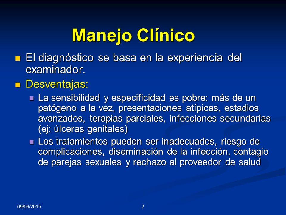 Manejo Clínico El diagnóstico se basa en la experiencia del examinador. Desventajas: