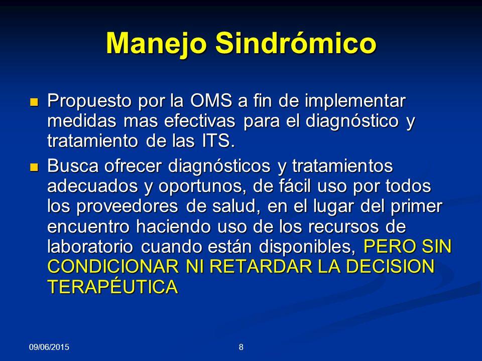 Manejo Sindrómico Propuesto por la OMS a fin de implementar medidas mas efectivas para el diagnóstico y tratamiento de las ITS.