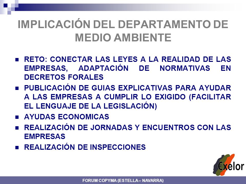 IMPLICACIÓN DEL DEPARTAMENTO DE MEDIO AMBIENTE
