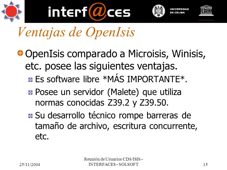 Reunión de Usuarios CDS/ISIS - INTERFACES - SOLSOFT