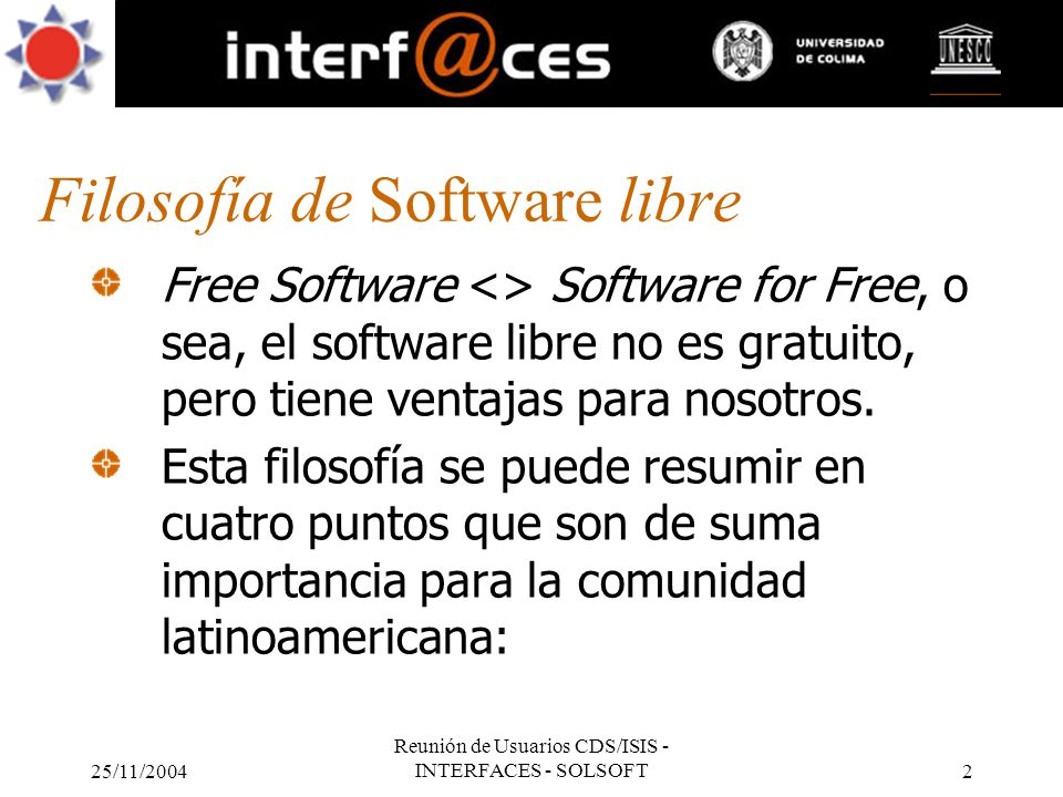 Filosofía de Software libre