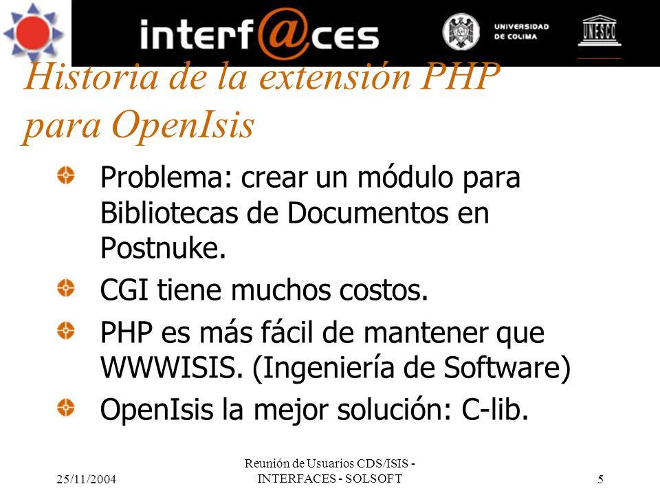 Historia de la extensión PHP para OpenIsis