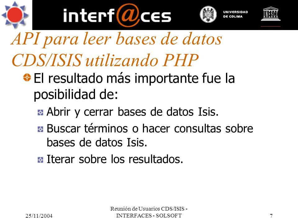 API para leer bases de datos CDS/ISIS utilizando PHP