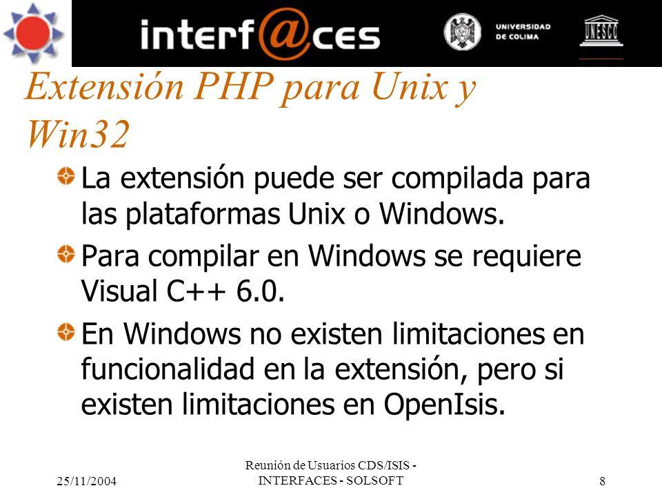Extensión PHP para Unix y Win32