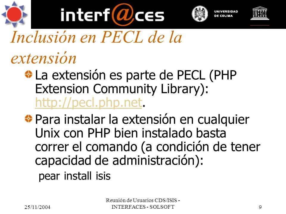 Inclusión en PECL de la extensión