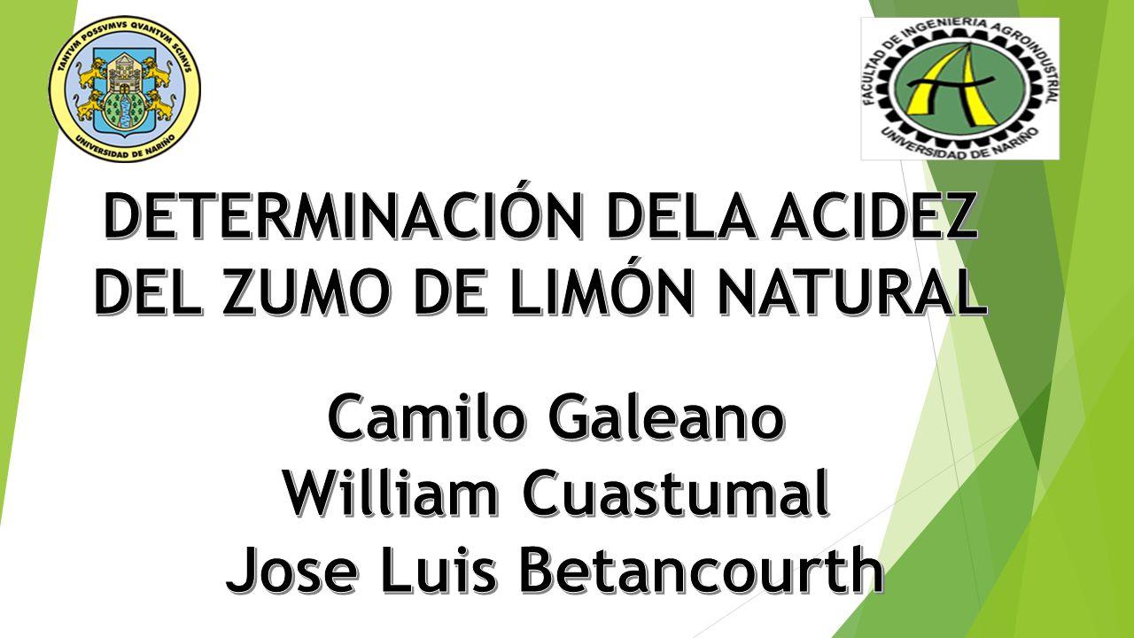 DETERMINACIÓN DELA ACIDEZ DEL ZUMO DE LIMÓN NATURAL