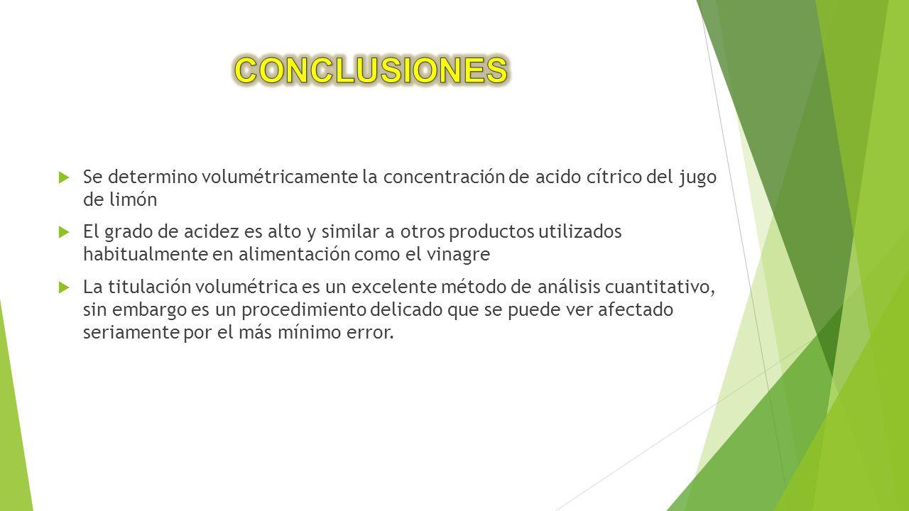 CONCLUSIONES Se determino volumétricamente la concentración de acido cítrico del jugo de limón.