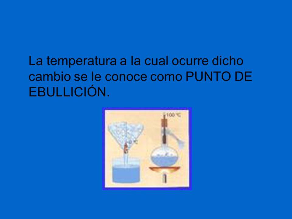 La temperatura a la cual ocurre dicho cambio se le conoce como PUNTO DE EBULLICIÓN.