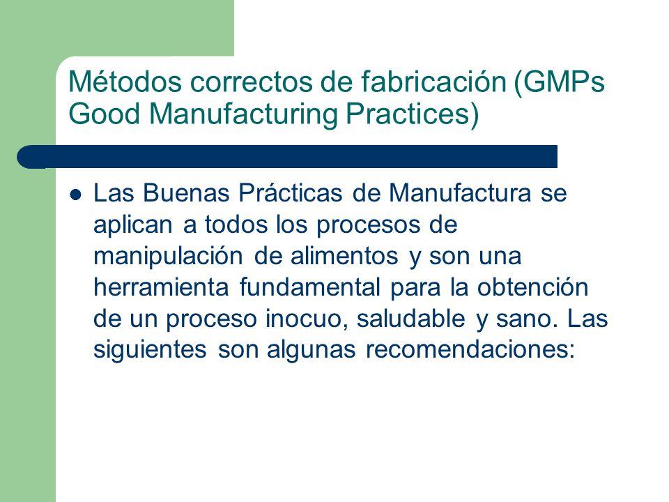 Métodos correctos de fabricación (GMPs Good Manufacturing Practices)