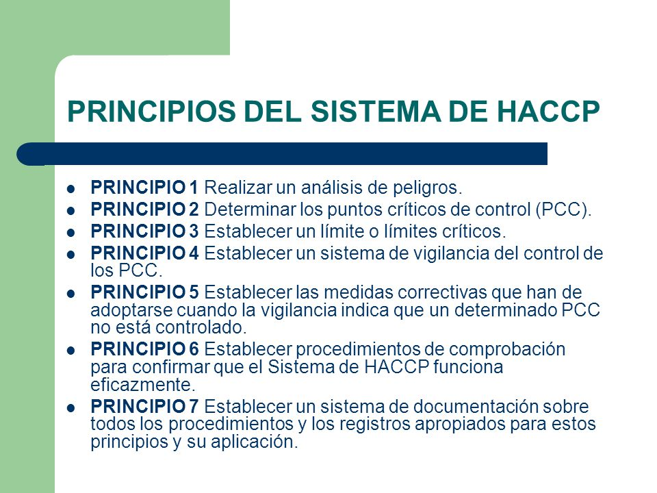 PRINCIPIOS DEL SISTEMA DE HACCP
