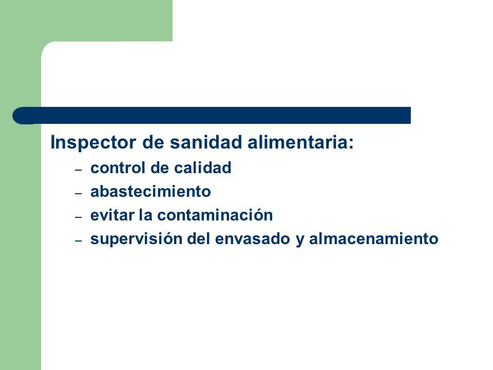 Inspector de sanidad alimentaria: