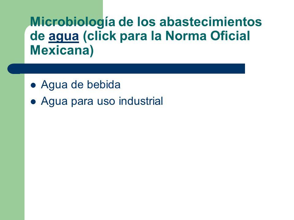 Microbiología de los abastecimientos de agua (click para la Norma Oficial Mexicana)