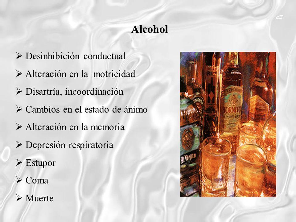Alcohol  Desinhibición conductual  Alteración en la motricidad