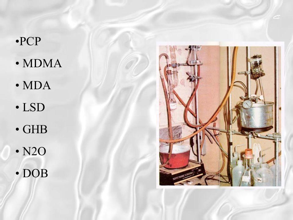 PCP MDMA MDA LSD GHB N2O DOB