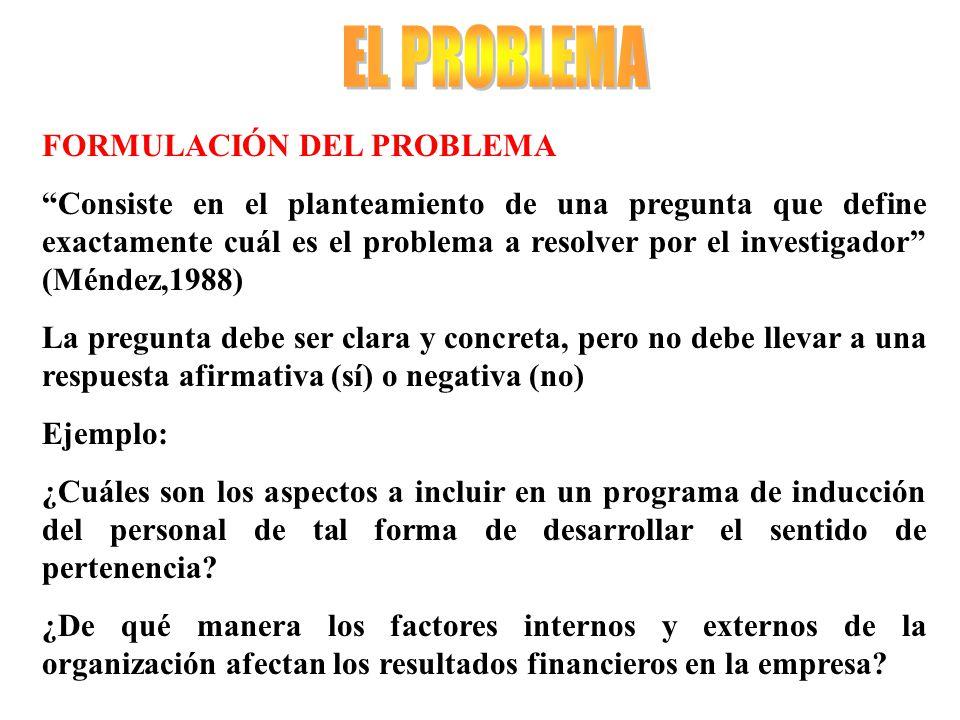 EL PROBLEMA FORMULACIÓN DEL PROBLEMA