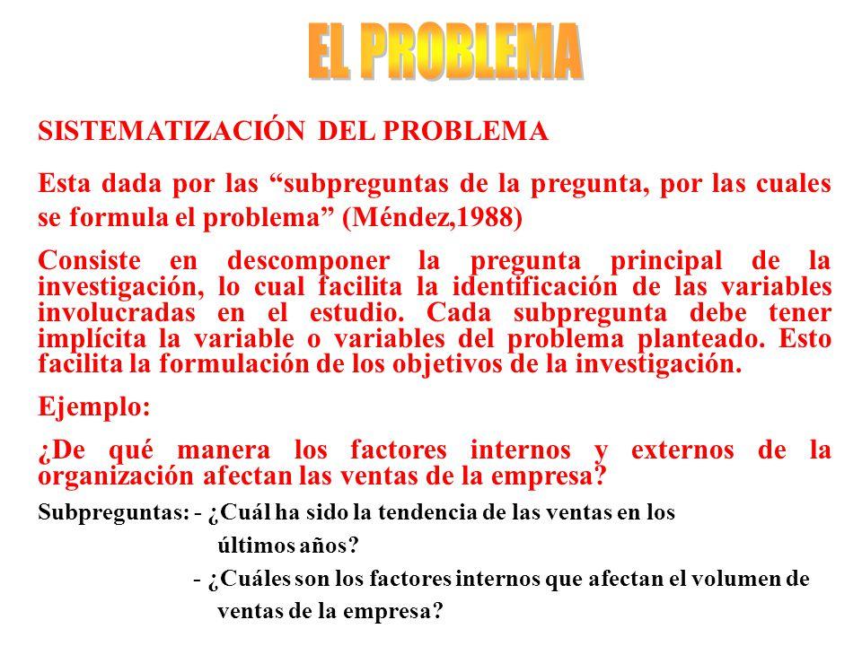 EL PROBLEMA SISTEMATIZACIÓN DEL PROBLEMA
