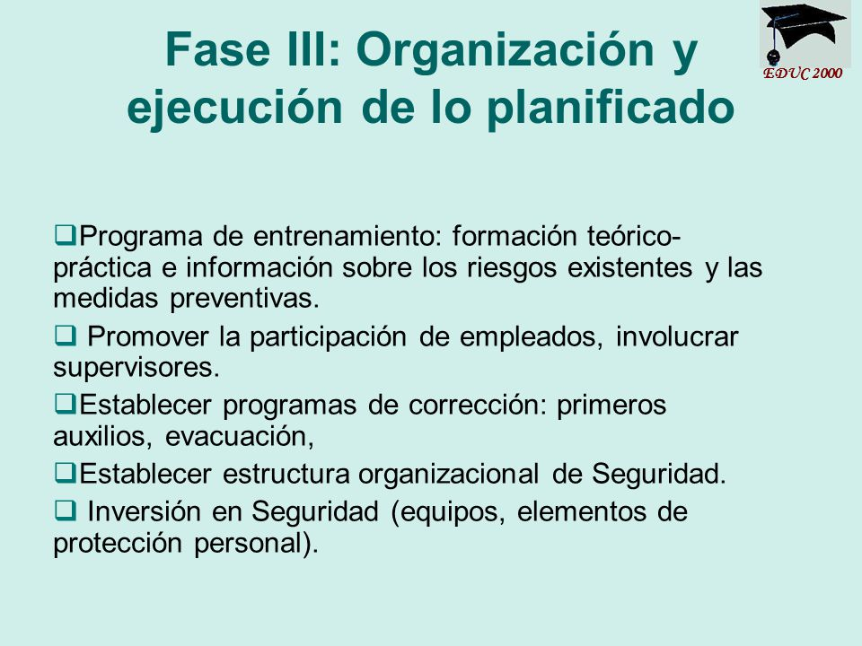 Fase III: Organización y ejecución de lo planificado
