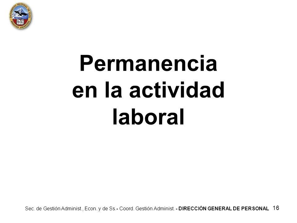Permanencia en la actividad laboral