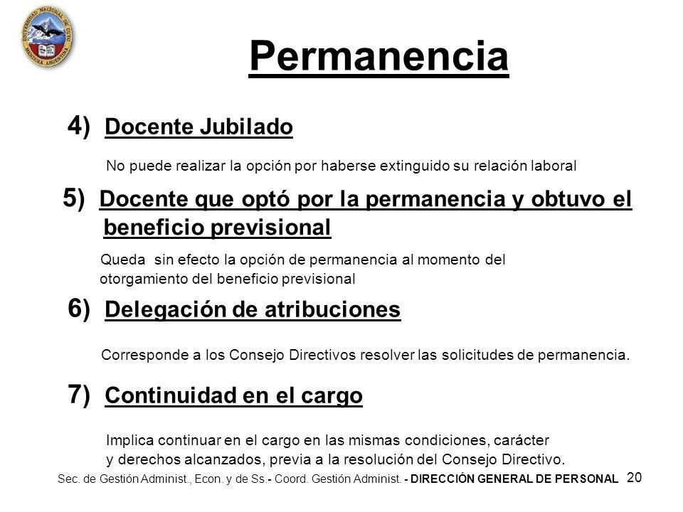 Permanencia 4) Docente Jubilado