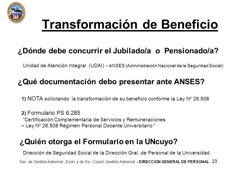 Transformación de Beneficio