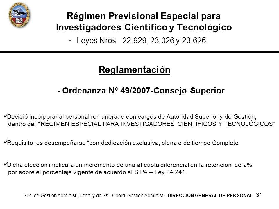 Ordenanza Nº 49/2007-Consejo Superior