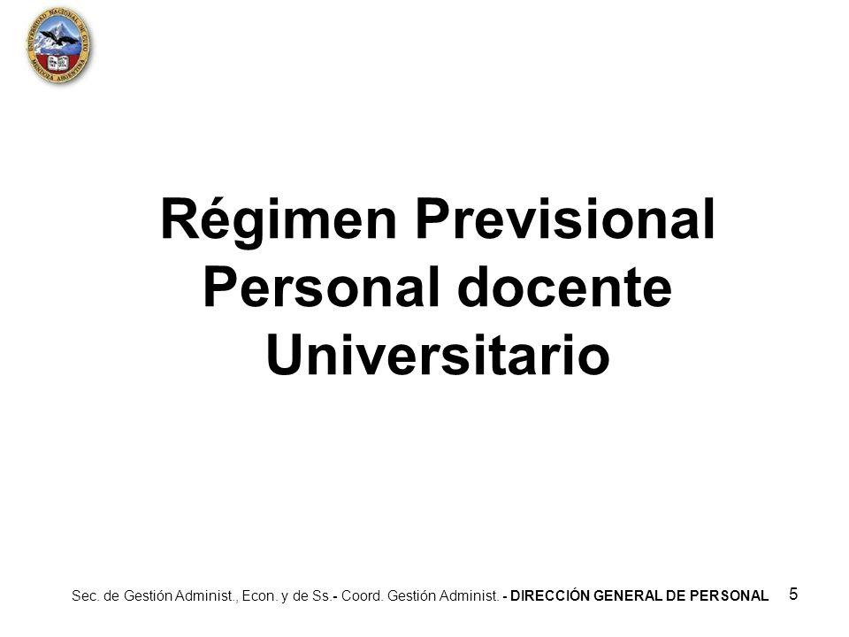 Régimen Previsional Personal docente Universitario
