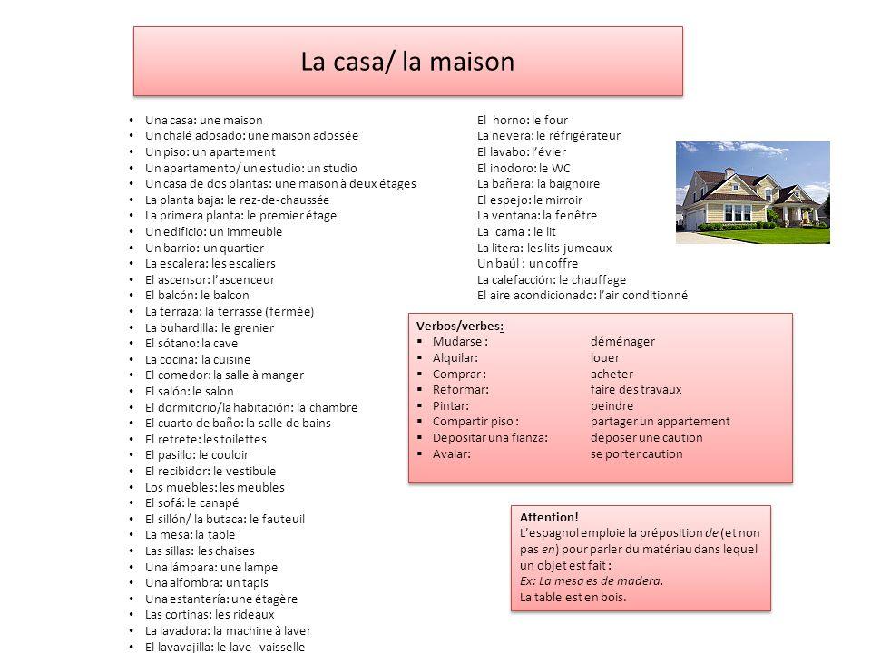 La casa/ la maison Una casa: une maison El horno: le four