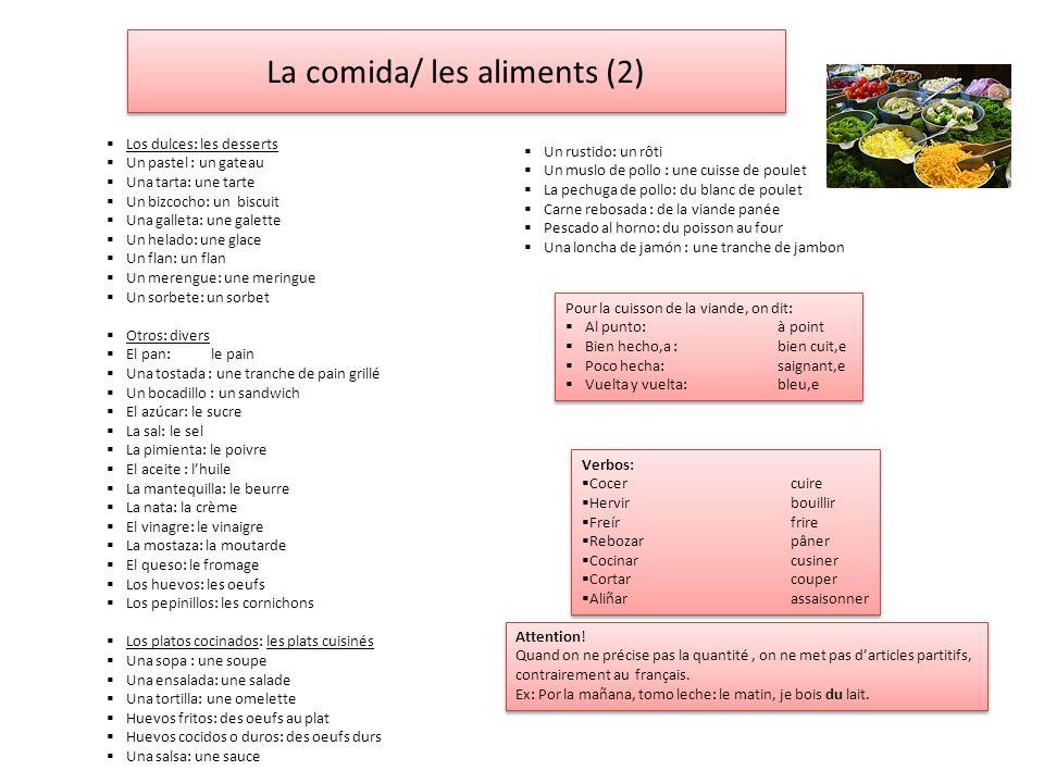 La comida/ les aliments (2)
