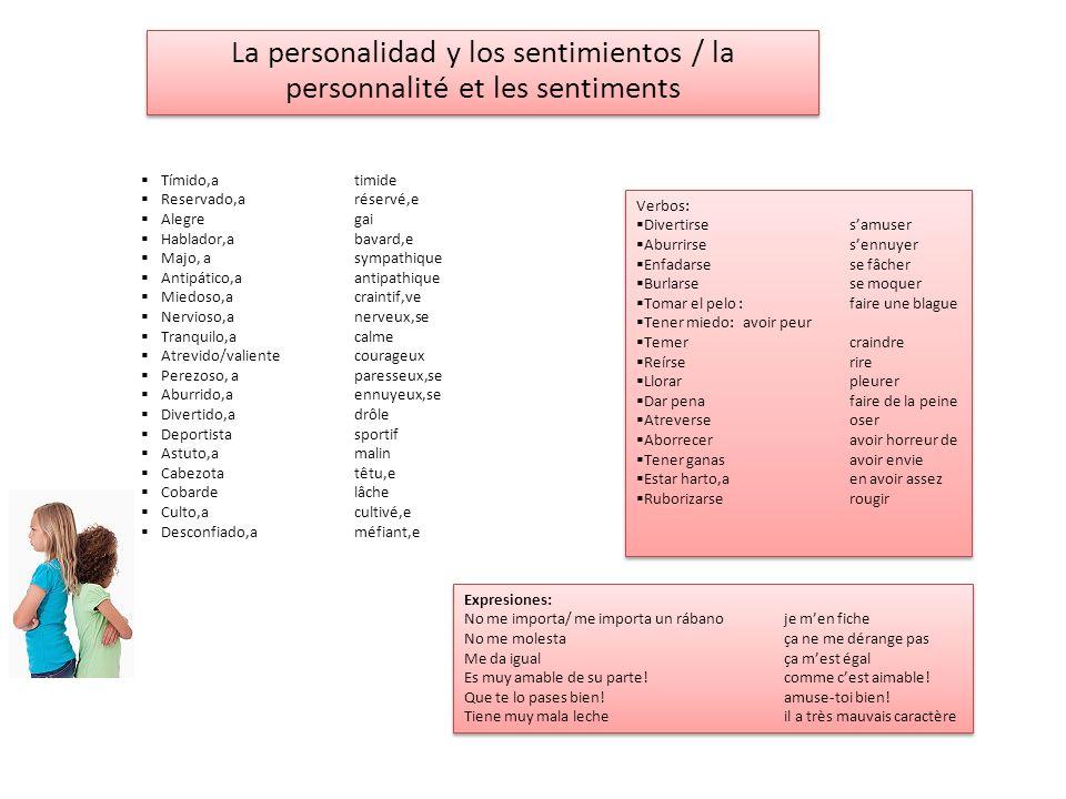 La personalidad y los sentimientos / la personnalité et les sentiments