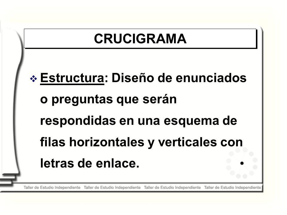 CRUCIGRAMA Estructura: Diseño de enunciados o preguntas que serán respondidas en una esquema de filas horizontales y verticales con letras de enlace.