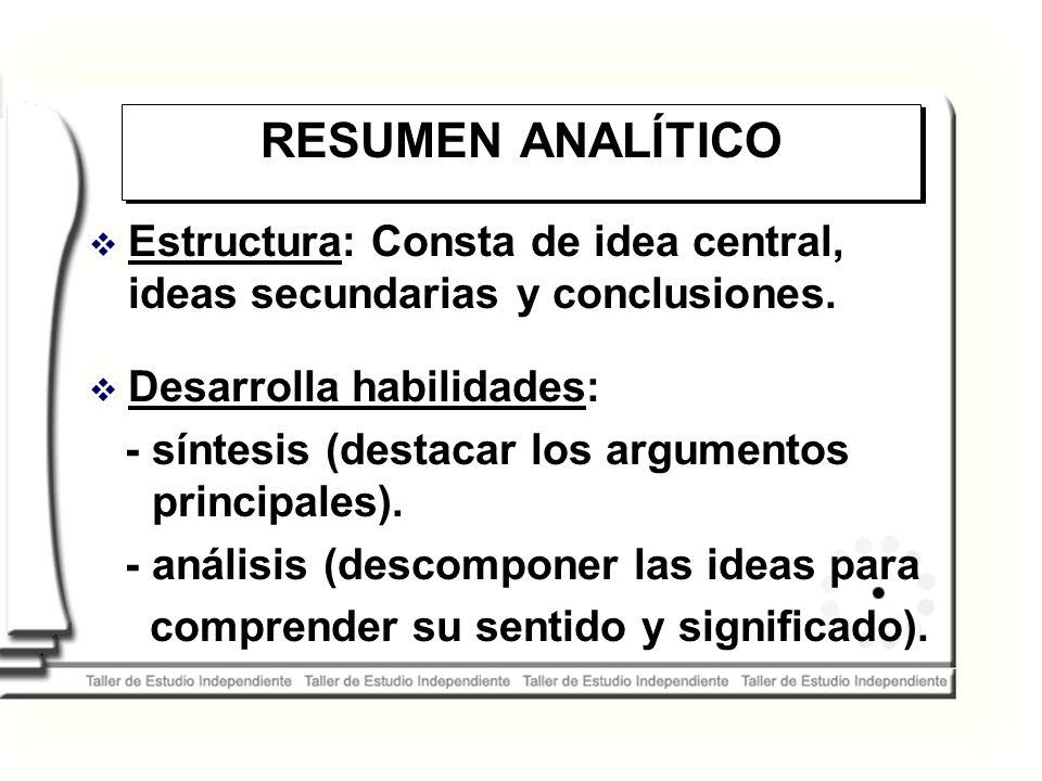 RESUMEN ANALÍTICO Estructura: Consta de idea central, ideas secundarias y conclusiones. Desarrolla habilidades: