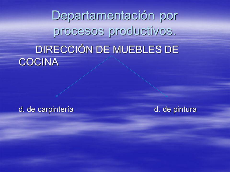 Departamentación por procesos productivos.