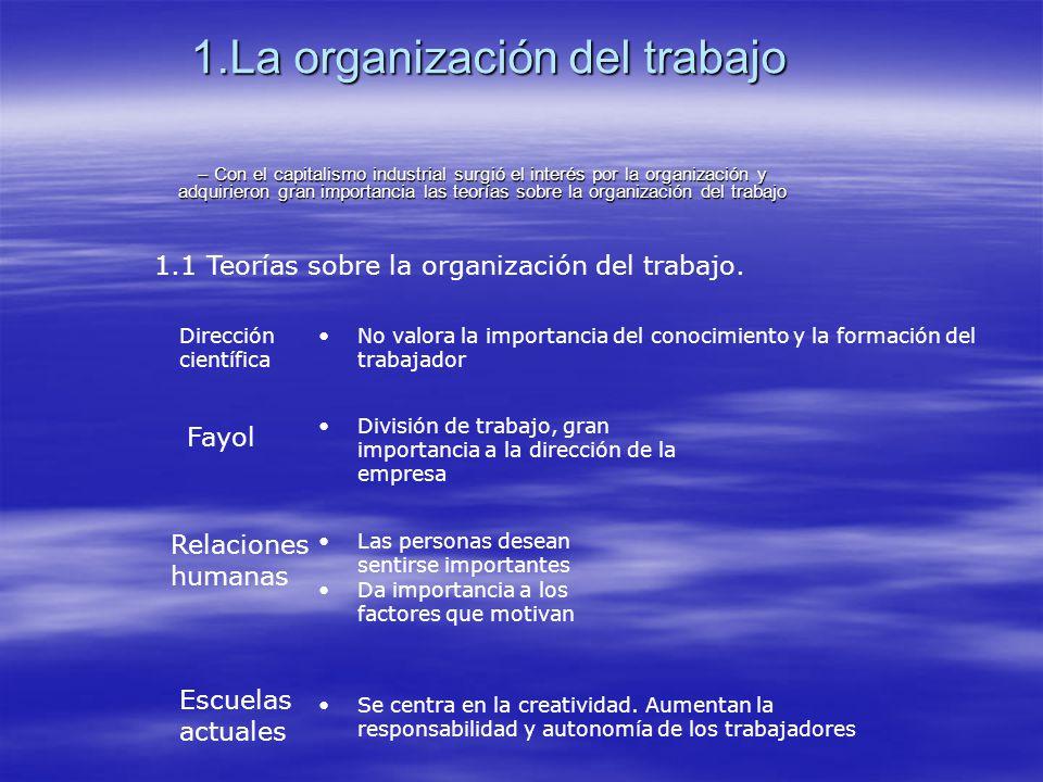 1.La organización del trabajo