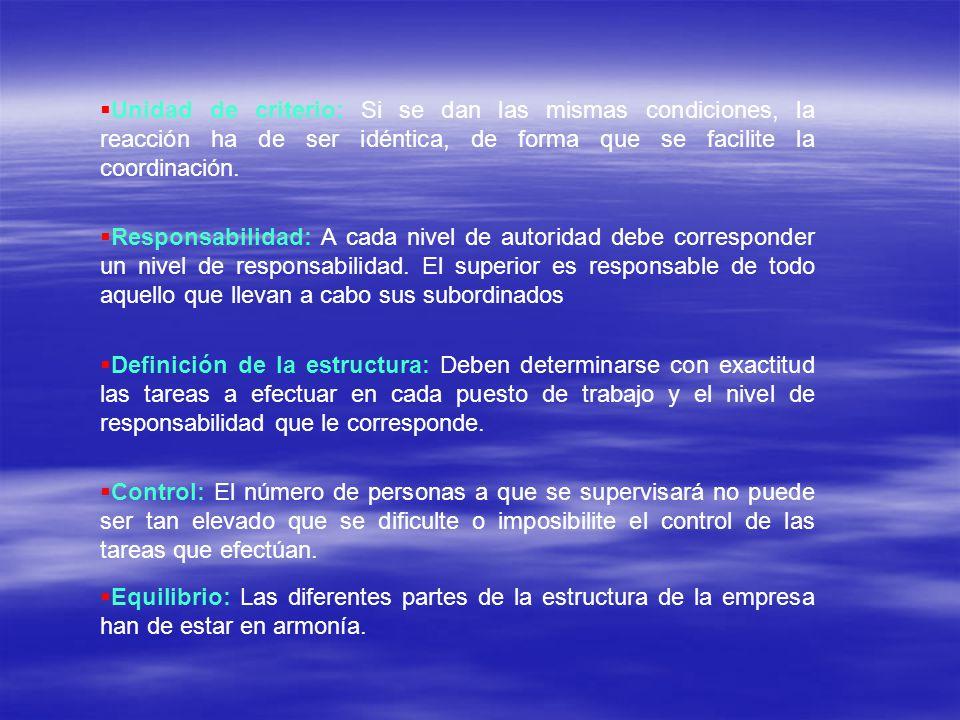 Unidad de criterio: Si se dan las mismas condiciones, la reacción ha de ser idéntica, de forma que se facilite la coordinación.