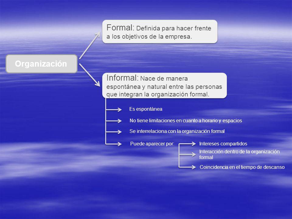 Formal: Definida para hacer frente a los objetivos de la empresa.