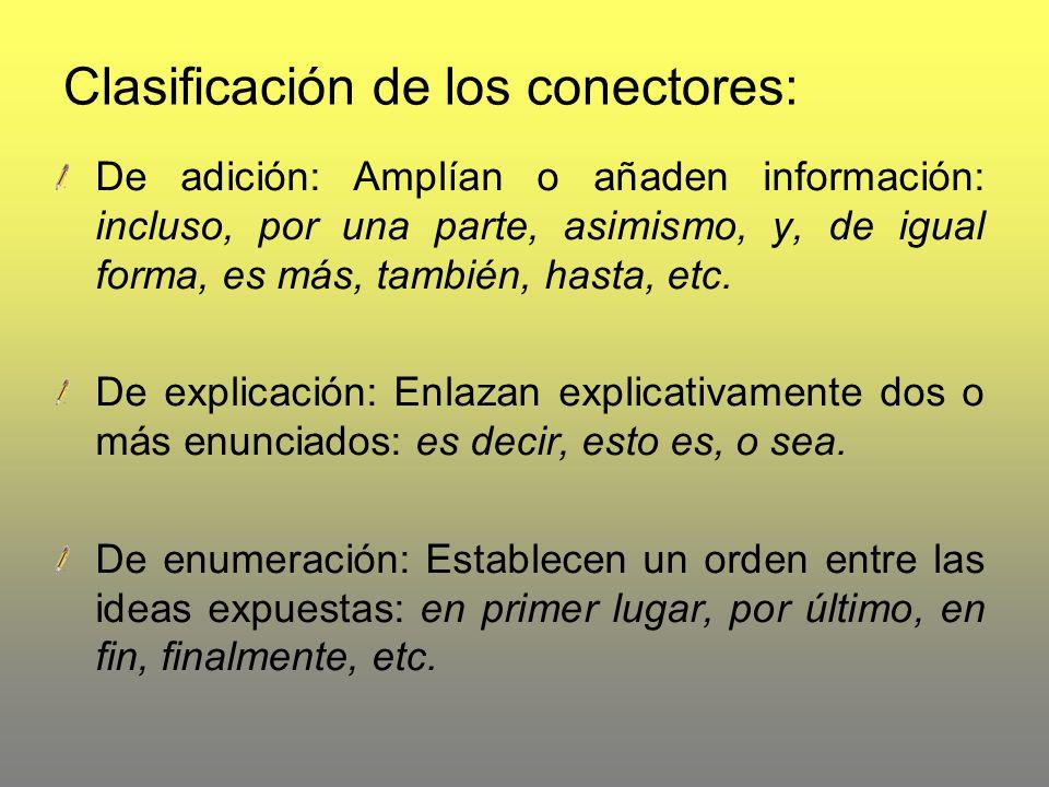 Clasificación de los conectores: