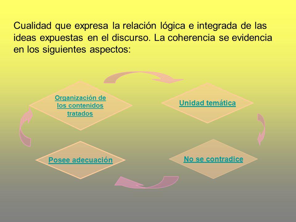 Cualidad que expresa la relación lógica e integrada de las ideas expuestas en el discurso. La coherencia se evidencia en los siguientes aspectos: