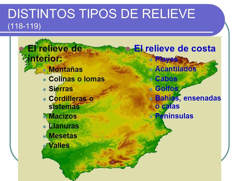 DISTINTOS TIPOS DE RELIEVE (118-119)